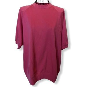 Vintage Short-sleeve Sweatshirt Bright Pink Size L